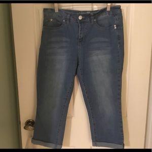 Capri length cuffed jeans